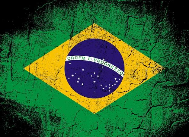 브라질, 브라질 연방 공화국의 국기입니다. 균열 및 찰과상 그런 지 스타일에서 벡터 일러스트 레이 션. 인쇄 및 배경에 좋은 이미지입니다.