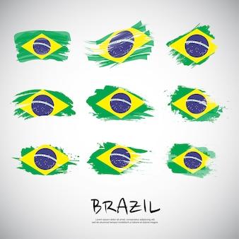브러시 획과 브라질의 국기입니다. 프리미엄 벡터