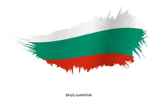 Флаг болгарии в стиле гранж с размахивая эффектом, флаг мазка кистью гранж вектор.