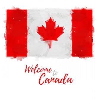 Флаг канады с украшением национального символа кленового листа и цвета. стиль акварельного рисования канадского флага.
