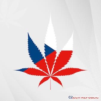 Флаг чехии в форме листа марихуаны. концепция легализации конопли в чехии.