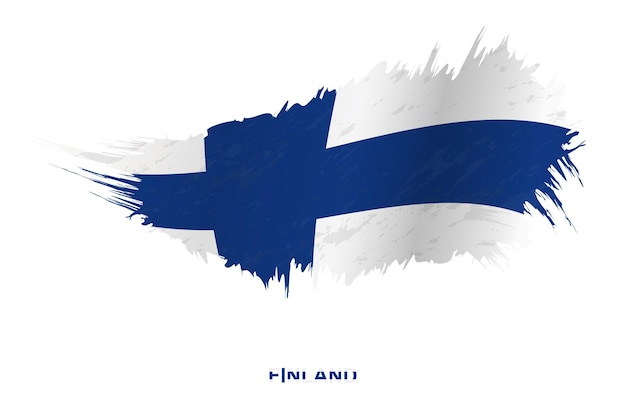 Флаг финляндии в стиле гранж с размахивая эффектом, флаг мазка кистью гранж вектор.