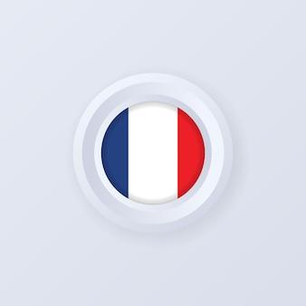 프랑스의 국기입니다. 프랑스 버튼입니다. 프랑스어 레이블, 기호, 버튼, 3d 스타일의 배지.