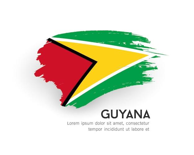 Флаг гайаны векторный дизайн мазка кистью, изолированные на белом фоне иллюстрации
