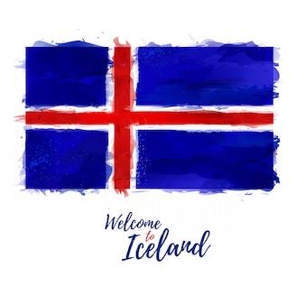 国民色の装飾が施されたアイスランドの旗。スタイル水彩画。ブラシのテクスチャ。