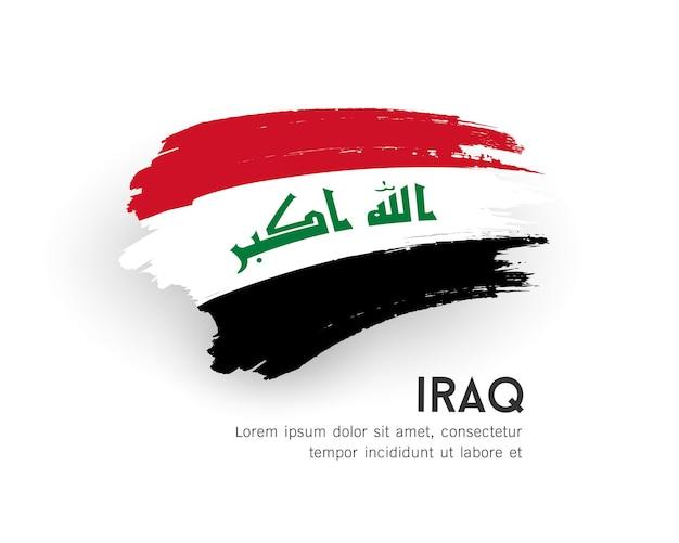 Флаг ирака векторный дизайн мазка кистью, изолированные на белом фоне иллюстрации