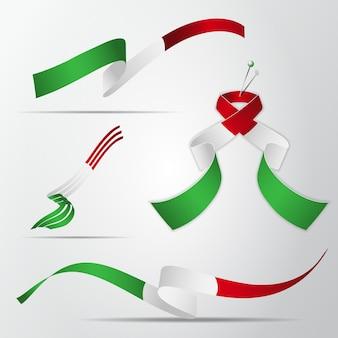 이탈리아의 국기입니다. 3월 17일. 이탈리아 국기의 색상으로 된 현실적인 물결 모양의 리본 세트. 독립 기념일. 국가 상징. 벡터 일러스트 레이 션. eps10.