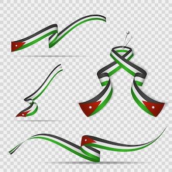 요르단의 국기입니다. 5월 25일. 투명한 배경에 요르단 국기의 색상으로 된 현실적인 물결 모양의 리본 세트. 독립 기념일. 국가 상징. 칠각 별. 벡터 일러스트 레이 션.