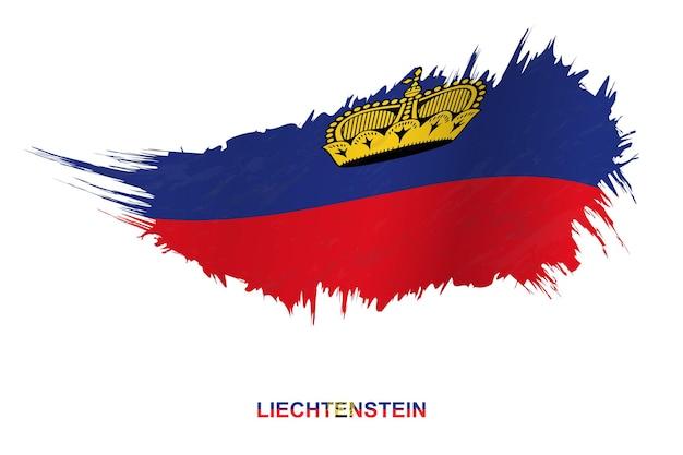흔들며 효과, 벡터 그런 지 브러시 스트로크 플래그와 그런 지 스타일에서 리히텐슈타인의 국기.