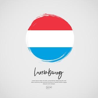 브러시 획 효과 및 텍스트가 있는 룩셈부르크의 국기