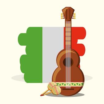 白と黒のギターとマラカスのメキシコの国旗