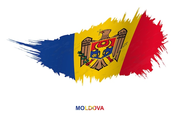 Флаг молдовы в стиле гранж с размахивая эффектом, флаг мазка кистью гранж вектор.