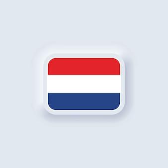 네덜란드의 국기입니다. 국가 네덜란드 플래그입니다. 벡터 일러스트 레이 션. eps10. 플래그가 있는 간단한 아이콘입니다. neumorphic ui ux 흰색 사용자 인터페이스. 뉴모피즘