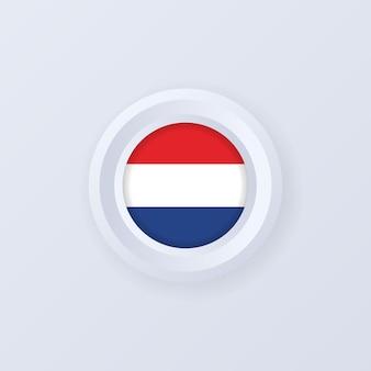 オランダの旗。オランダボタン。オランダのラベル、サイン、ボタン、3dスタイルのバッジ。