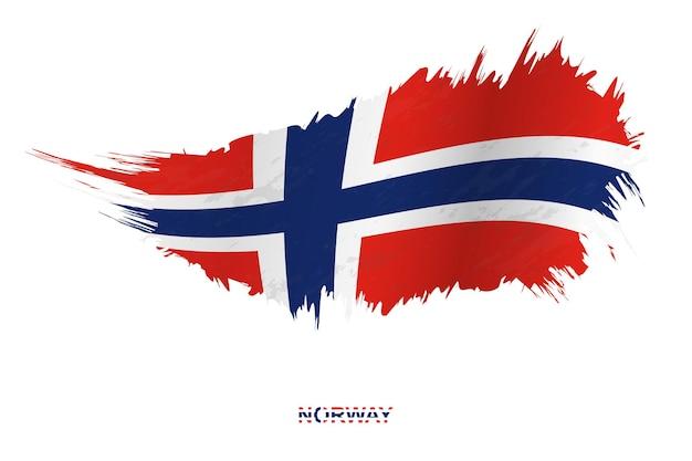 Флаг норвегии в стиле гранж с размахивая эффектом, флаг мазка кистью гранж вектор.