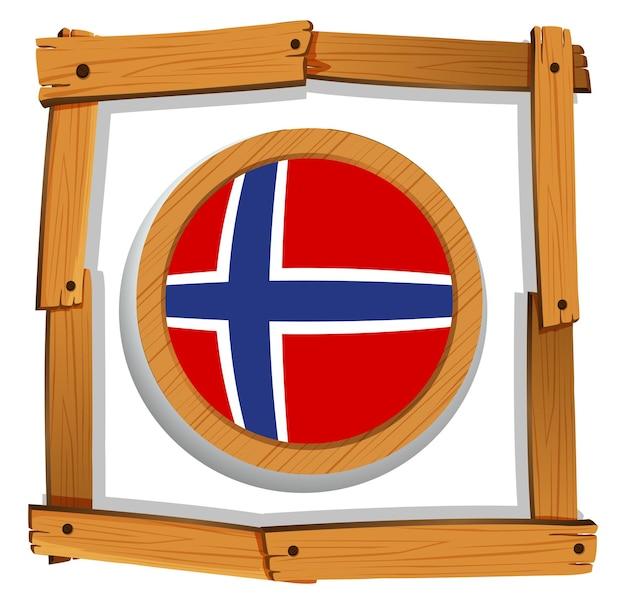 Флаг норвегии в деревянной рамке