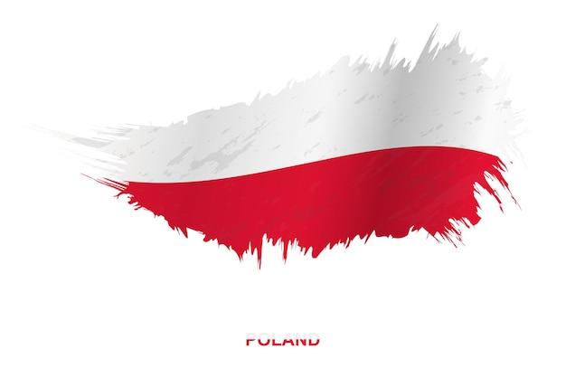 Флаг польши в стиле гранж с размахивая эффектом, флаг мазка кистью гранж вектор.