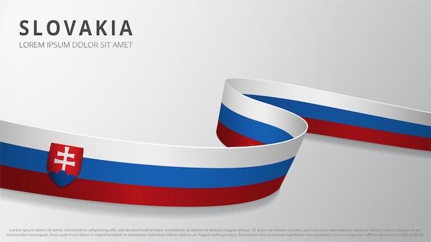 슬로바키아의 국기입니다. 슬로바키아 국기 색상이 있는 현실적인 물결 모양의 리본입니다. 그래픽 및 웹 디자인 템플릿입니다. 국가 상징. 독립기념일 포스터. 추상적인 배경입니다. 벡터 일러스트 레이 션.