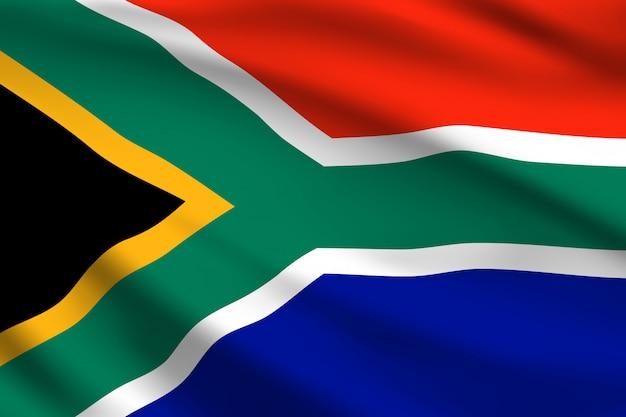 Флаг южной африки, 3d волнистый фон