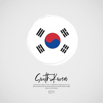 브러시 획 효과와 텍스트가 있는 한국의 국기