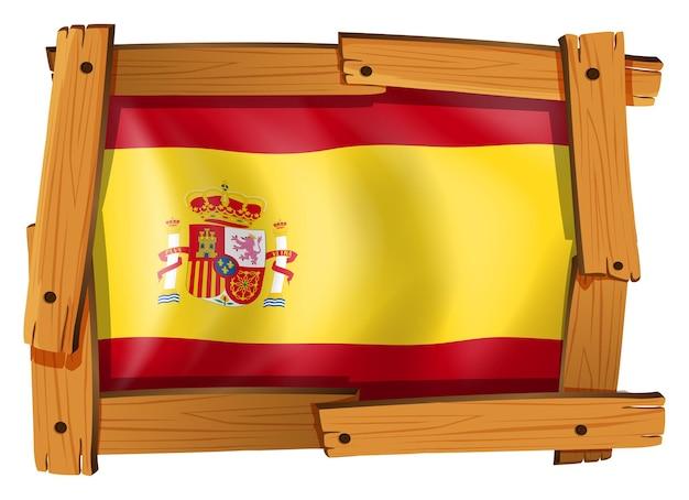 木製フレームにスペインの旗
