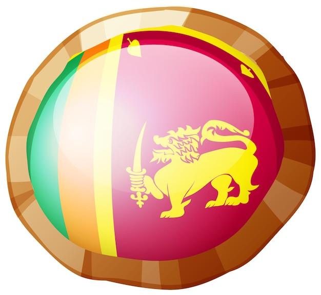 라운드 프레임에 스리랑카의 국기