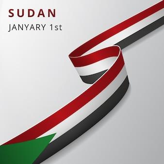 수단의 국기입니다. 1월 1일. 벡터 일러스트 레이 션. 회색 배경에 물결 모양의 리본입니다. 독립 기념일. 국가 상징. 그래픽 디자인 템플릿입니다.