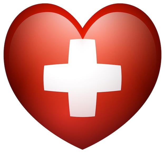 심장 모양에 스위스의 국기
