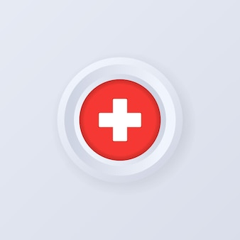 스위스의 국기입니다. 스위스 레이블, 기호, 버튼, 3d 스타일의 배지.