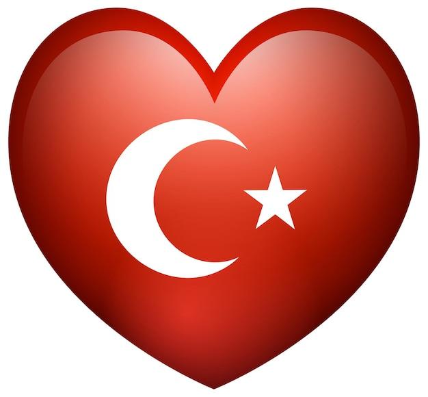 심장 모양에 터키의 국기