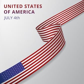 アメリカ合衆国の旗。 7月4日。アメリカの国家のシンボル。ベクトルイラスト。灰色の背景に波状のリボン。独立記念日。アメリカの選挙。