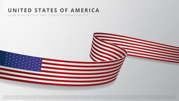 アメリカ合衆国の旗。アメリカの国旗の色でリアルな波状のリボン。 7月4日。アメリカの選挙。独立記念日。グラフィックとウェブデザインのテンプレート。ベクトルイラスト。