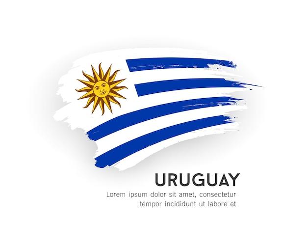 Флаг уругвая векторный дизайн мазка кистью, изолированные на белом фоне иллюстрации