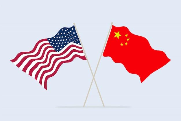 함께 미국과 중국의 국기입니다. 국가의 우정과 협력의 상징. 삽화.