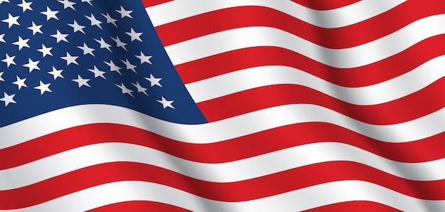 アメリカの旗。アメリカ合衆国の旗の背景を振っています。