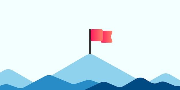 Флаг на вершине горы. плоский стиль.