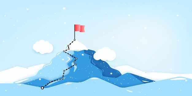 山頂に旗を立てる。