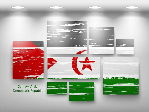 Flag paint in gallery. vector illustration