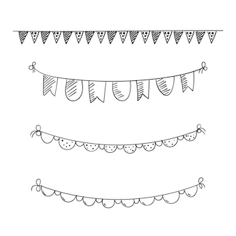 Flag party doodle or bunting flags decoration