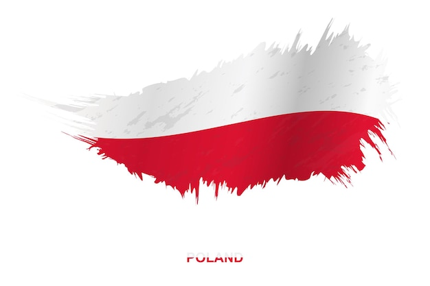 Flag of poland in grunge style with waving effect, vector grunge brush stroke flag.
