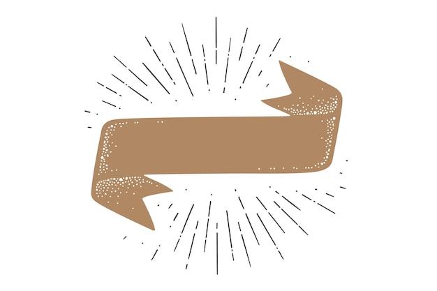 플래그 리본 템플릿. 구식 깃발 배너 서식 파일