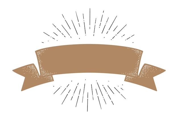 플래그 리본 템플릿. 올드 스쿨 플래그. 선형 그리기 광선, 햇살 및 태양 광선, 템플릿 빈티지 스타일의 리본 플래그입니다.