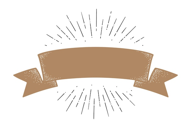 Flag ribbon template. old school flag. ribbon flag in vintage style with linear drawing light rays, sunburst and rays of sun, template.