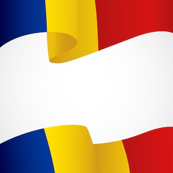 Flag of romania on white