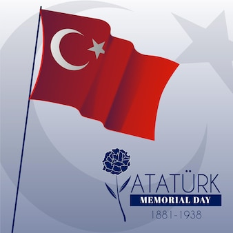 Flag and rose ataturk memorial day