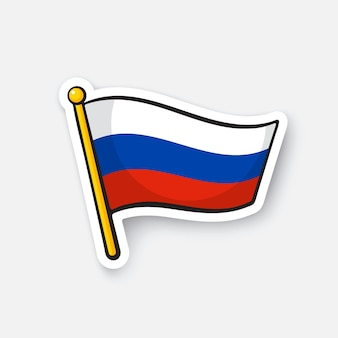 Flag of russia on flagstaff checkpoint symbol for travelers cartoon sticker vector illustration
