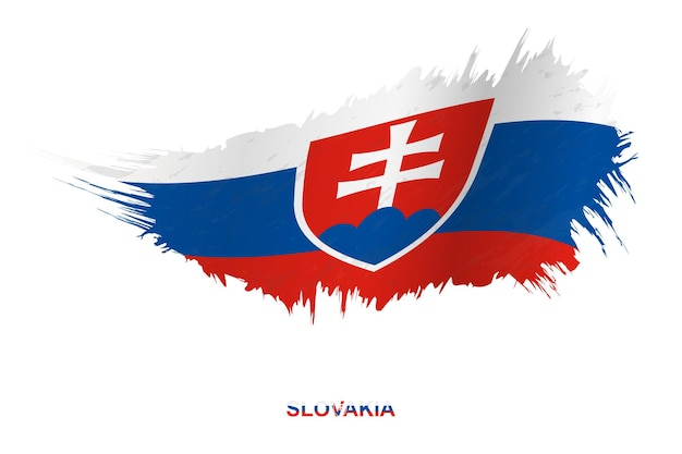 Flag of slovakia in grunge style with waving effect, vector grunge brush stroke flag.