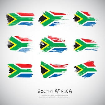 Flag of south africa with brush stroke.