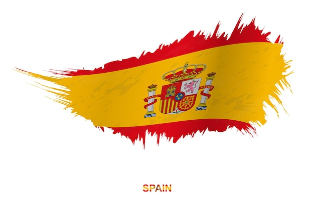 Flag of spain in grunge style with waving effect, vector grunge brush stroke flag.