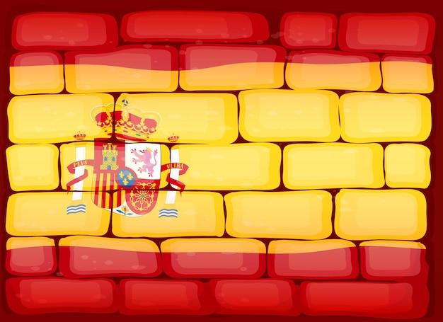 Flag of spain painted on the wall